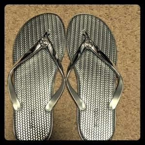 Michael Kors Jet Set Metallic Jelly Flip Flops